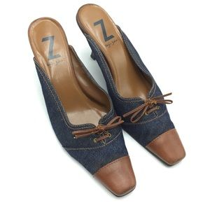 """Sergio Zelcer Denim And Leather Mules """"gorgeous """""""